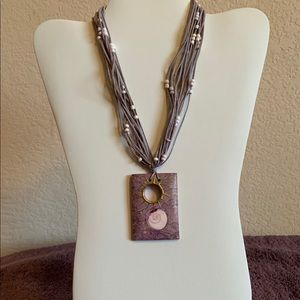 Jewelry - Boho layered lavender cord pendant necklace